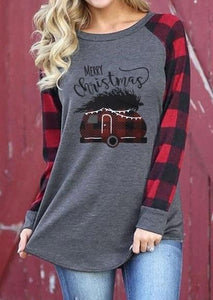 Merry Christmas Plaid Sleeve Top eotita-apparel-eotita