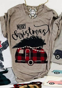 Merry Christmas Plaid Van Tee eotita-apparel-eotita