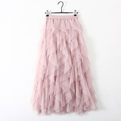 Rosette - Ruffle Pleated Tulle Maxi Skirt eotita-bottoms-eotita