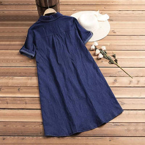 Coretta - Loose Fit Button Up Denim Dress eotita-apparel-eotita