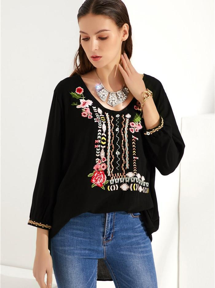 Valda - Embroidered Floral Boho Blouse eotita