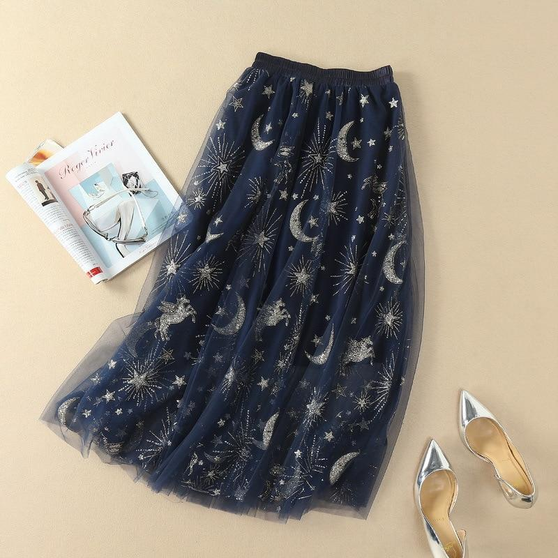 Zandra - Night Sky Sequined Tulle Skirt eotita-bottoms-eotita