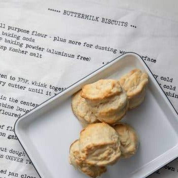 White Linen Buttermilk Biscuit Tea Towel