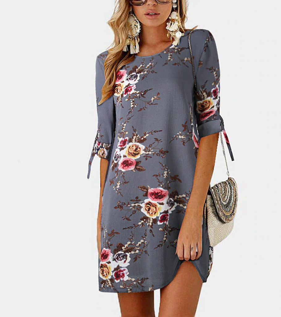 Bohemian Style Summer Dress With Floral Print - SexyCurvesNow