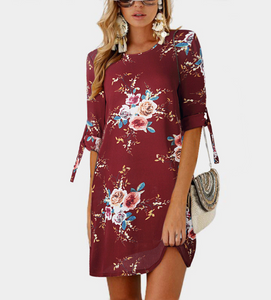 Bohemian Style Summer Dress With Floral Print