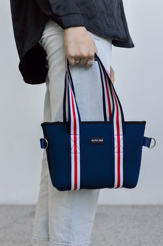 Harper (Navy) Mini Neoprene Tote/Crossbody Bag- With Zip Closure