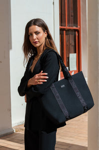 Olivia Jean (Black) Signature 2.0 Neoprene Tote Bag- With Zip Closure