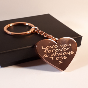 Personalised Engraved Heart Keyring 40mmx 40mm - Status Mugs