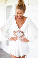 White Long Sleeved Sexy Beach Romper
