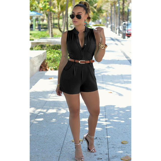 Summer Sexy Button-Front Belted Romper