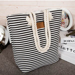 Striped Canvas Beach Tote Rope Straps