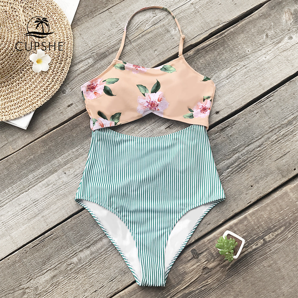 dd0f6ea067d CUPSHE Pink Floral And Green Striped Halter One-piece Swimsuit Women Tied  Back Bow Cutout