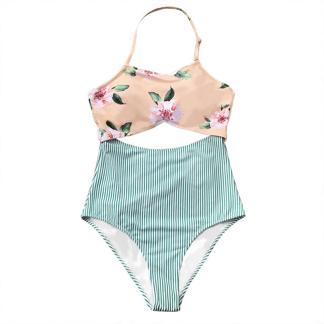 cf606854bf522 CUPSHE Pink Floral And Green Striped Halter One-piece Swimsuit Women Tied  Back Bow Cutout
