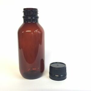 100ml PET (Amber) Boston Bottles with screw top lids - SOLD OUT