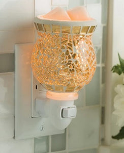 GOLD GILDED GLASS Mosaic Pluggable Melt Warmer