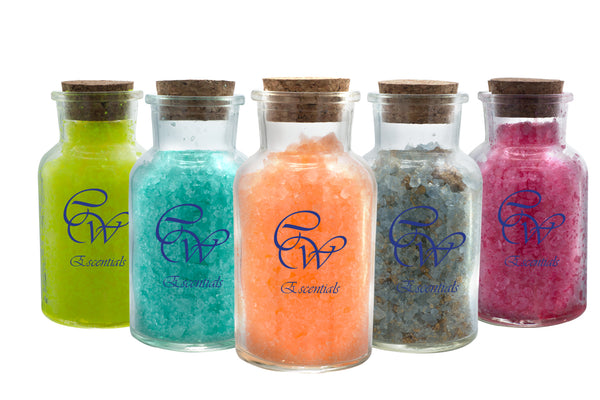 A cover shot of aromatherpy bath salts for CW Escentials