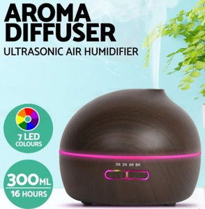 4-in-1 AROMATHERAPY LED ULTRASONIC HUMIDIFIER, DIFFUSER, PURIFIER & NIGHT LIGHT - 300ML