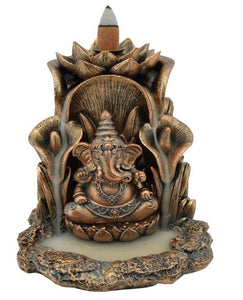 NEW - BRONZE GANESH ELEPHANT BACKFLOW INCENSE BURNER