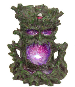 NEW - GREEN TREE MAN BACKFLOW INCENSE BURNER WITH LIGHT