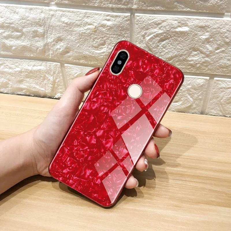 a5e0dacc476 Marble Pattern Luxury Tempered Glass Case For Redmi Note 6 Pro ...