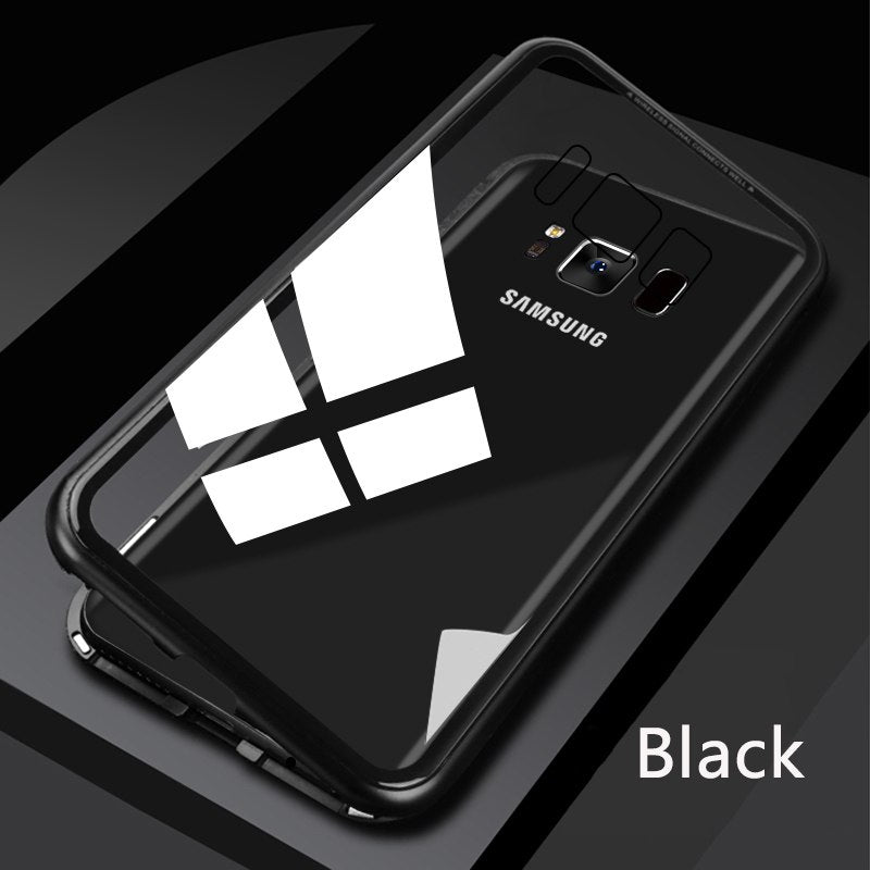 first rate 096e0 6ddf6 Tempered Glass Magnetic Adsorption Phone Case for Galaxy S8/ S8 Plus -  Black / Galaxy S8 / No