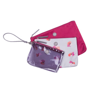Trio Pouch in Grey Floral