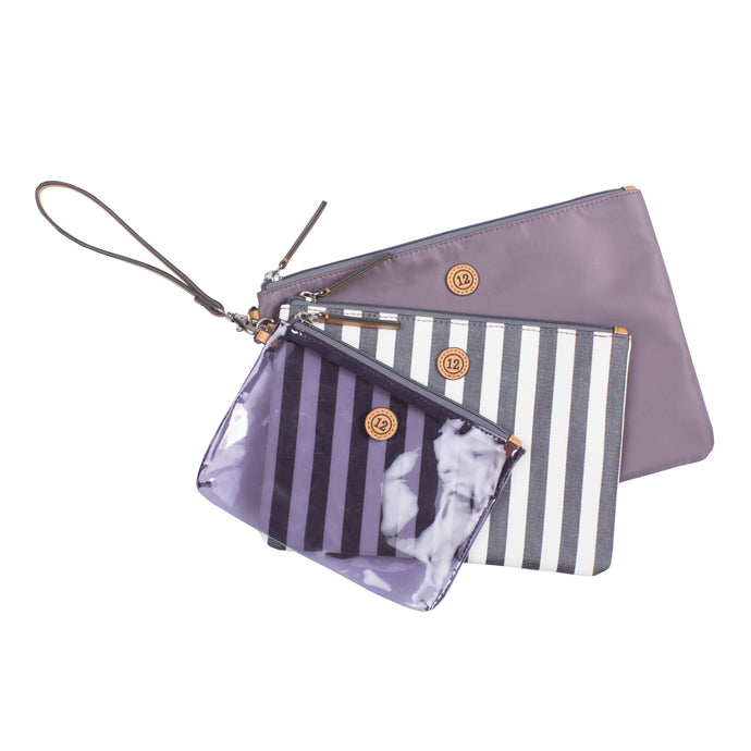 Trio Pouch in Stripe Print