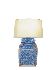 Chiang Mai Basket Table Lamp - Blue w/Shade