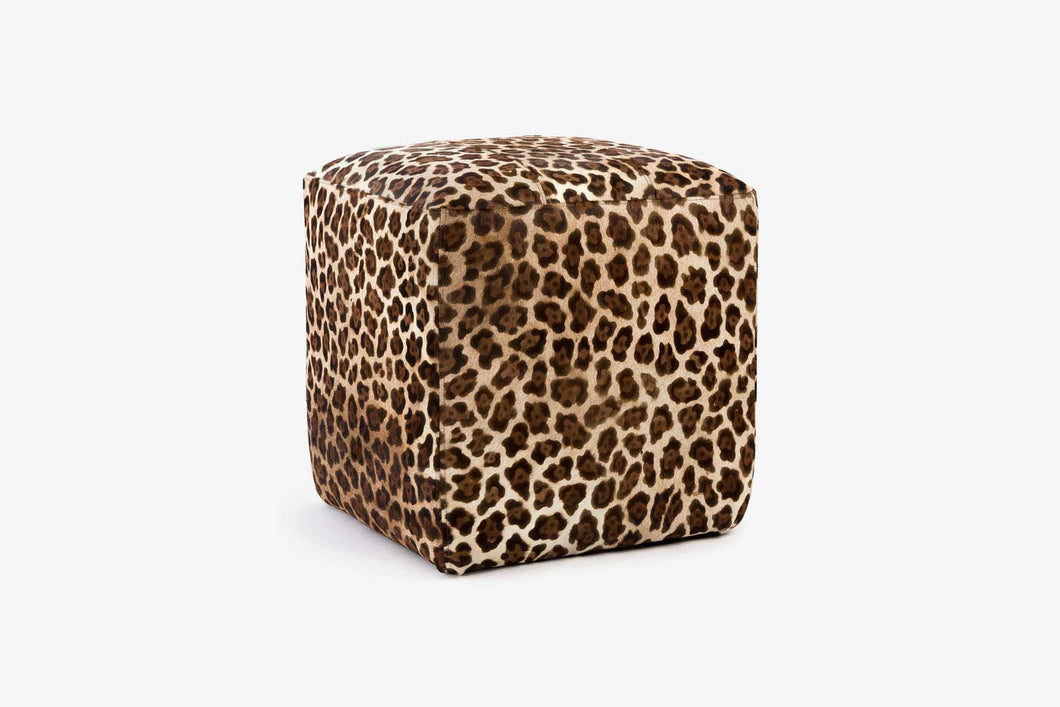Buenos Aires Pouffe Full Cowhide in Leopard print