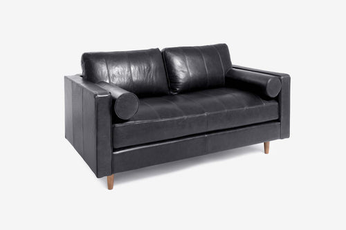 Cognac Leather Loveseat Sofa - Walnut / Black