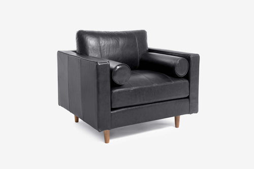 Cognac Leather Arm Chair in Black
