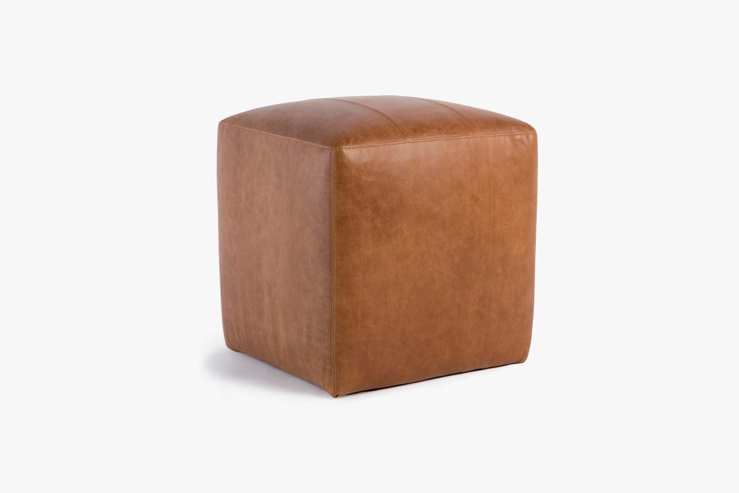 Buenos Aires Pouffe Full Leather in Cognac