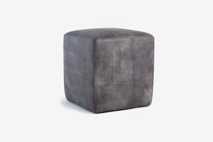 Buenos Aires Pouffe Full Leather in Elephant Grey