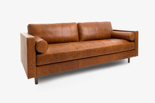 Cognac Leather 3 Seater Sofa - Walnut / Nocciolo