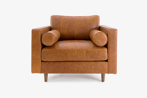 Cognac Leather Arm Chair - Walnut / Nocciolo