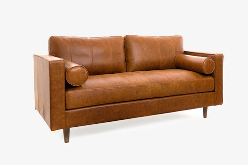 Cognac Leather Loveseat Sofa - Walnut / Nocciolo