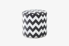 Load image into Gallery viewer, Istanbul Fabric Pouf in Grey Chevron