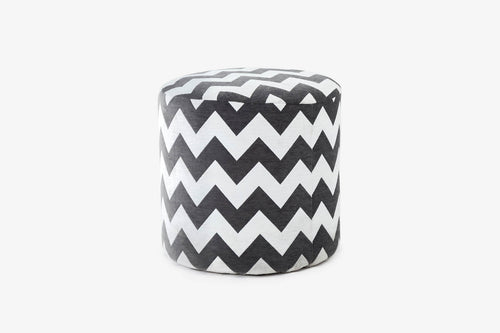Istanbul Fabric Pouf in Grey Chevron