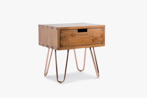 Kolding Bed Side Table in Natural Teak