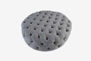 Oxford Pouffe Round in Stone Grey
