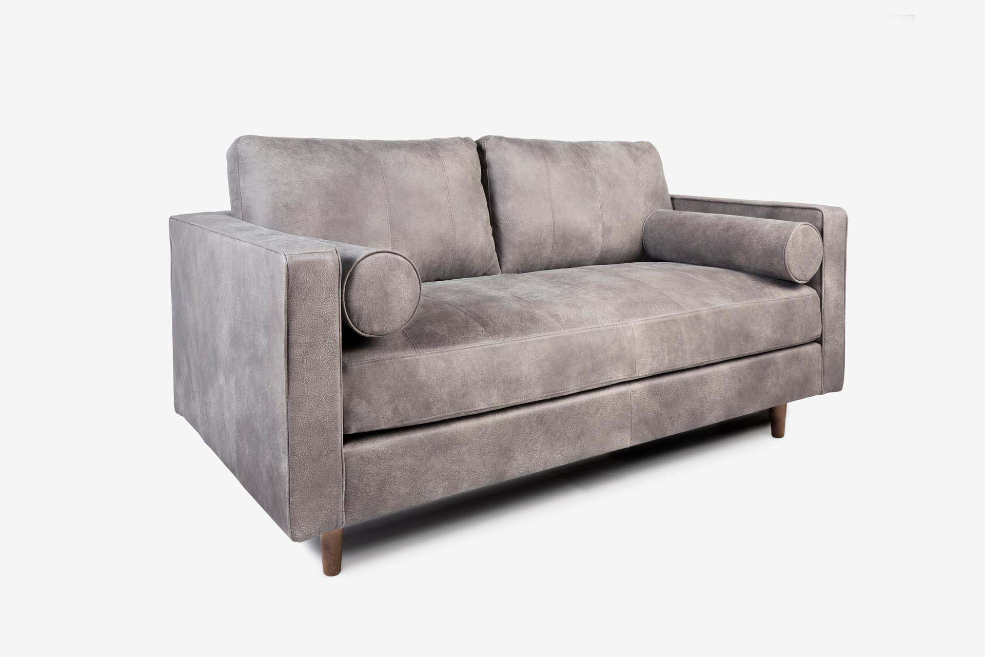 Cognac Leather Loveseat Sofa Grey Leather With Walnut Legs