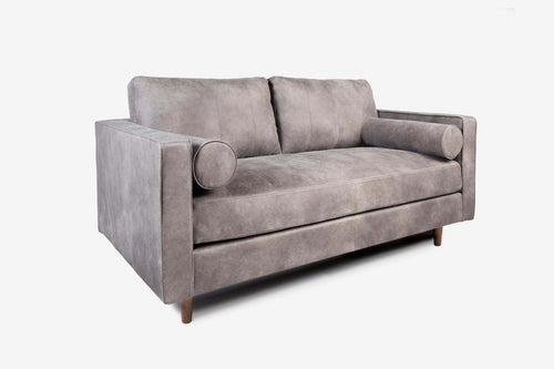 Cognac Leather Loveseat Sofa - Grey Leather with Walnut Legs