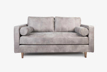 Load image into Gallery viewer, Cognac Leather Loveseat Sofa - Grey Leather with Walnut Legs
