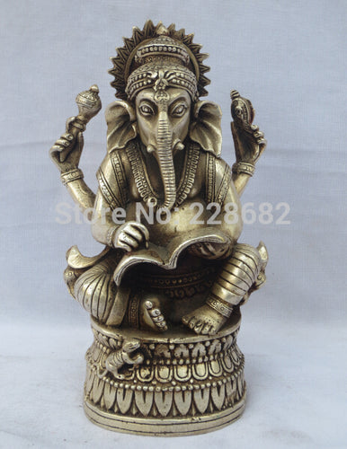 Old Handwork Tibet Silver Carved Lucky GANESH Elephant God Statue