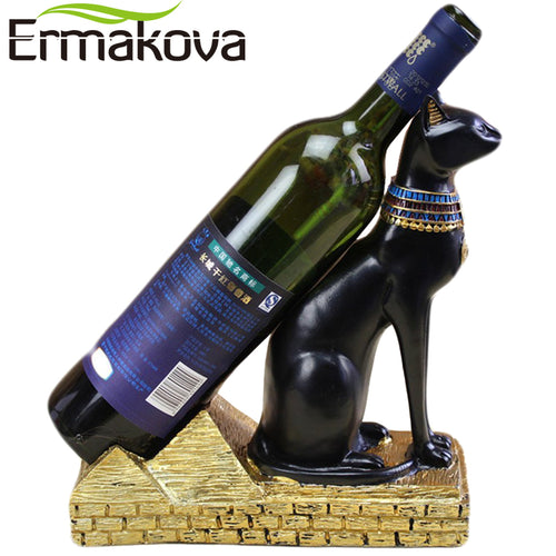 ERMAKOVA Wine Rack Resin Egyptian Cat Bastet bast Bottle Holder Animal Goddess