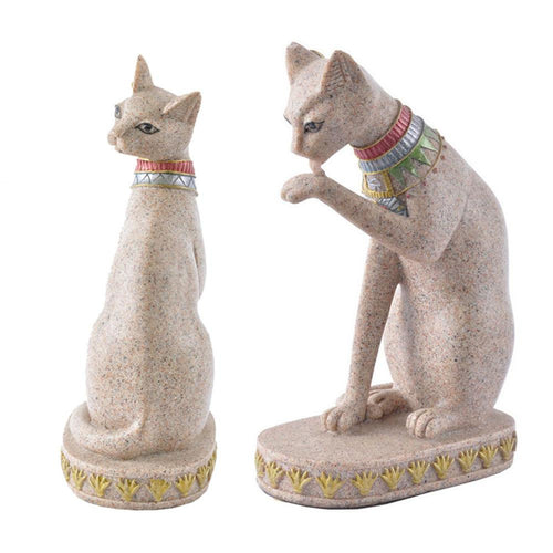 Sandstone/resin Egyptian BASTET Cat Goddess Statue Figurine Sculpture