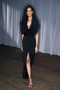 Ostrich Feathered Halter Gown (Pre-Order)