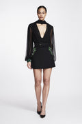 Chiffon Bodysuit with Embroidered Cuff and Collar