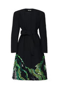 Wool Double Face Coat with Green Agate Embroidery and Sash (Made to Order)