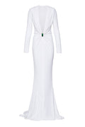 Deep-V Hooded Jersey Gown with Malachite Slider